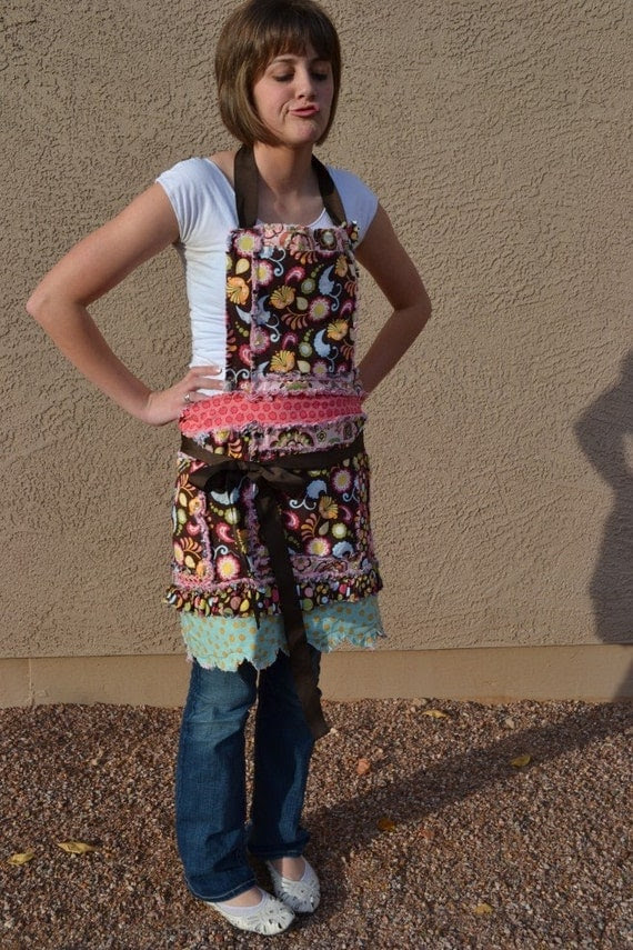 Brown and Pink New Pattern, Rag Apron with Ruffle and Scallops for Women and Girls