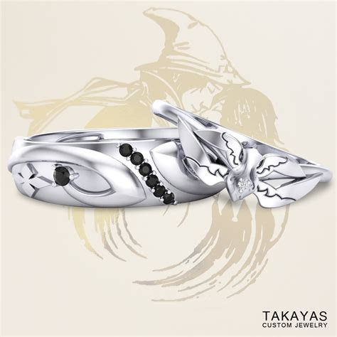 Black & White Mage Final Fantasy Inspired Wedding Rings