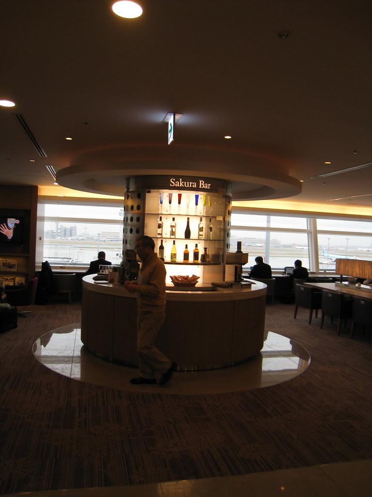 Self-served Sakura Bar at JAL Sakura Lounge at Haneda