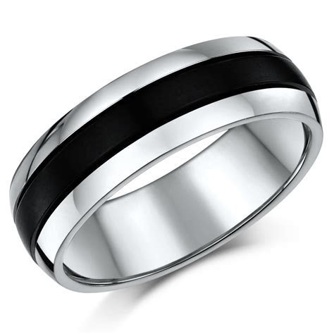 Men's 7mm Titanium Two Tone Wedding Band   Titanium Rings