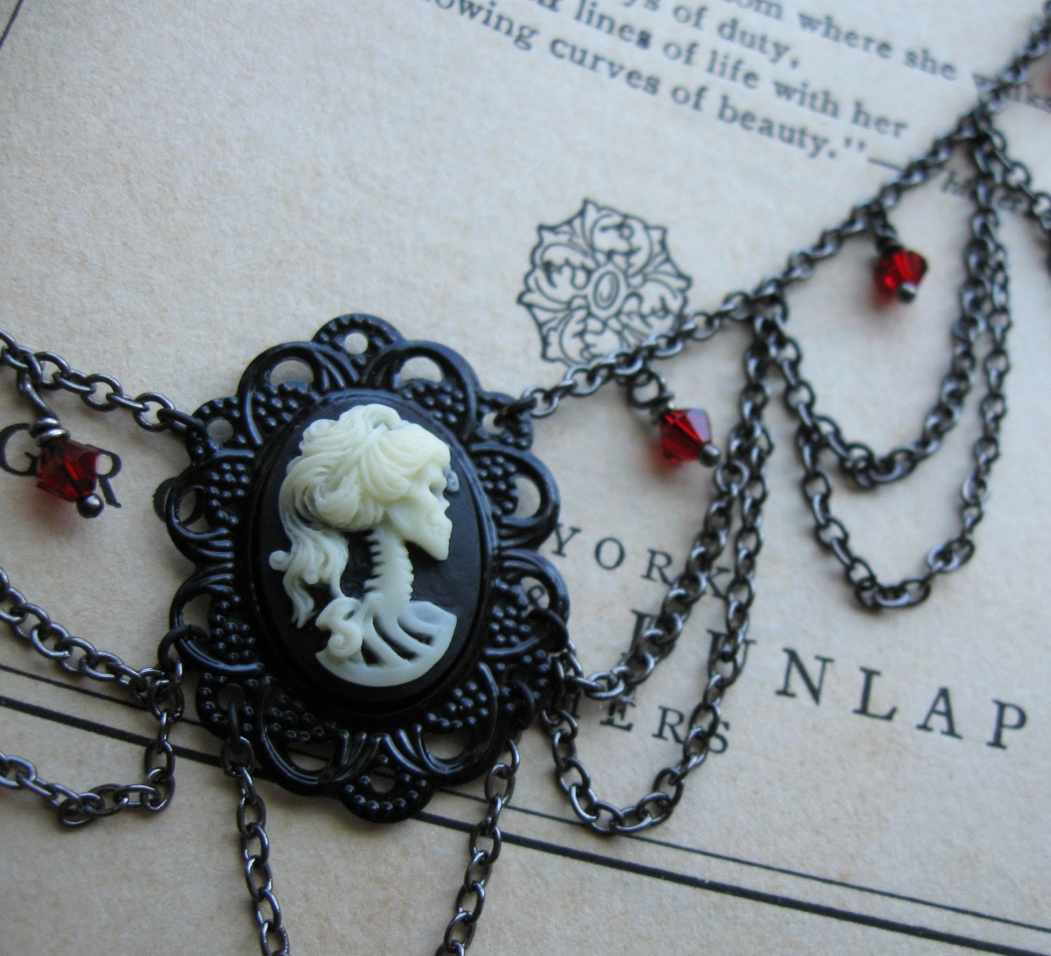 Victorian Gothic Black Blood Red Halloween Skeleton Necklace - Silent in Solitude