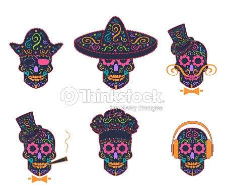 Icono De Calavera Mexicana Con Sombrero Chef De Cocina Gentelemen