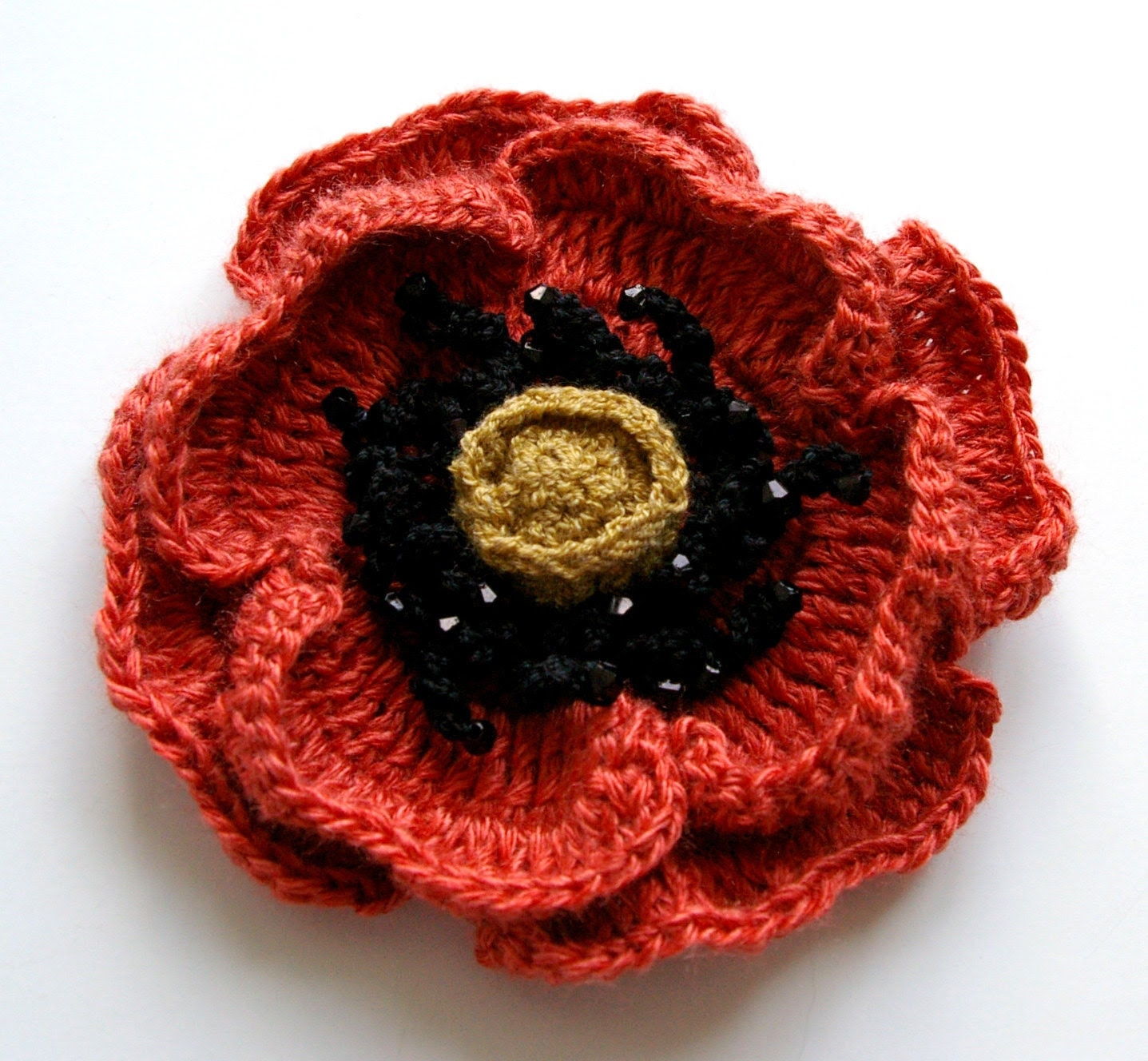 crochet flower brick red POPPY perfect for spring/summer / made to order - MIKALINOS