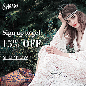 Sign up for 15% OFF coupon at choies, free shipping