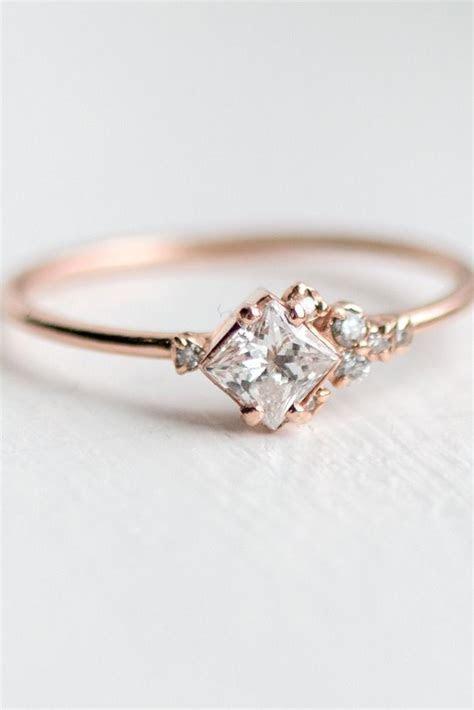 Rose Gold Engagement Ring   This asymmetrical ring design
