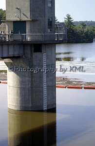 rising waters at the dam control tower