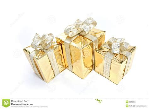Gold Christmas Present stock image. Image of decoration