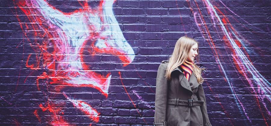 Street art posing