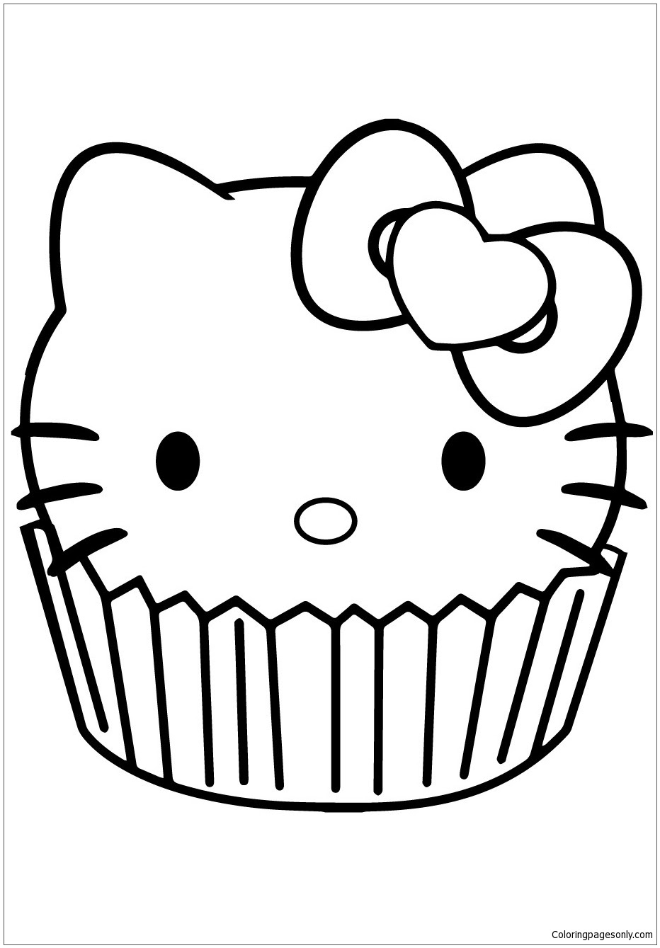 Hello kitty cupcake coloring page free coloring pages line