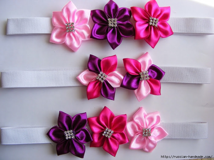 Headband hair with flowers of satin ribbons.  Master class (26) (700x525, 256Kb)