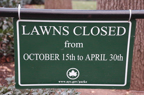 Sign: Lawns Closed, Union Square Park, Manhattan