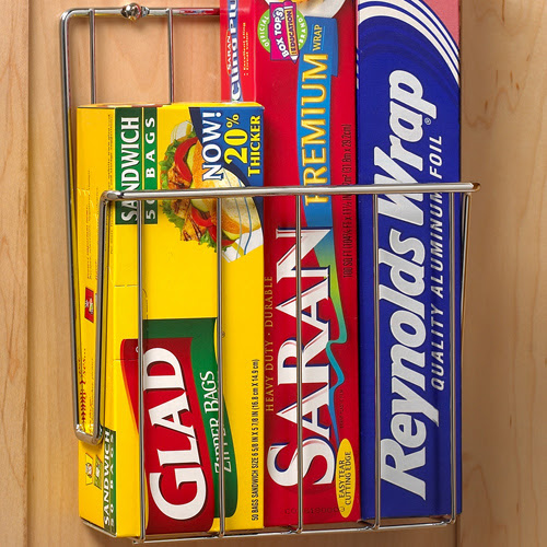 Mounted Kitchen Wrap Organizer - Chrome in Food Wrap Holders