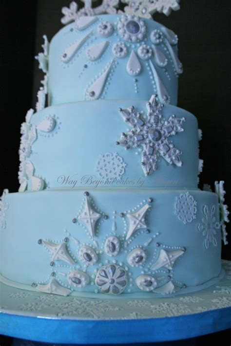 Snowflake Themed Wedding Cake   CakeCentral.com