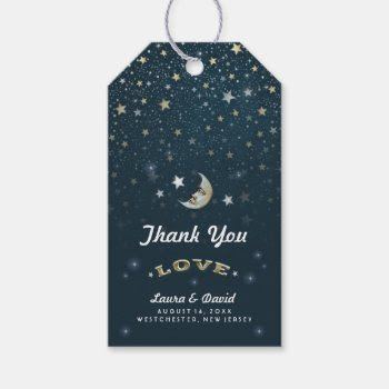 Teal Gold & White Moon & Stars Wedding Gift Tags Pack Of Gift Tags by juliea2010 at Zazzle