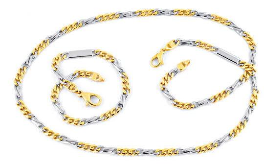 Foto 1, Goldkette und Gold-Armband massiv Gelb-Weissgold Luxus!, K2067