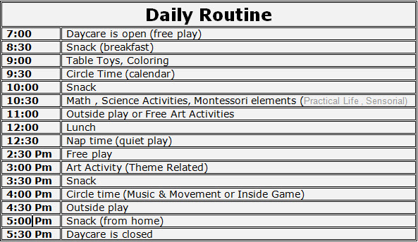 Daily Schedule For Daycare | Daily Agenda Calendar