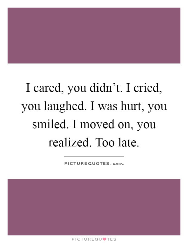 I Cared You Didnt I Cried You Laughed I Was Hurt You