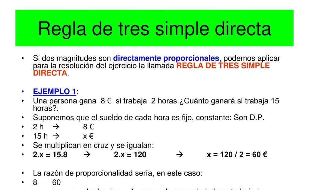 Ejemplos De Regla De Tres Simple Directa Compartir Ejemplos