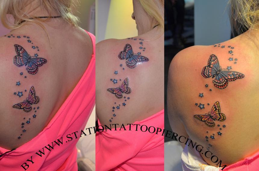 Colored Butterfly And Stars Tattoos On Back Shoulder
