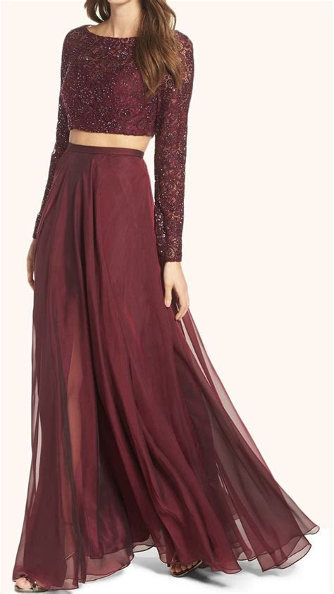 Two Piece Long Sleeves Lace Prom Gown Burgundy Formal