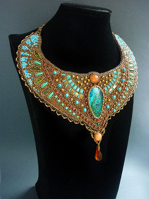 Cleopatra Necklace Bead Embroidery Art by JewelryElenNoel on Etsy, $585.00