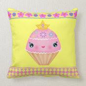 Kawaii Princess Cupcake American MoJo Throw Pillow mojo_throwpillow
