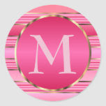 Pretty Pink & Gold Monogram Envelope Seal Classic Round Sticker