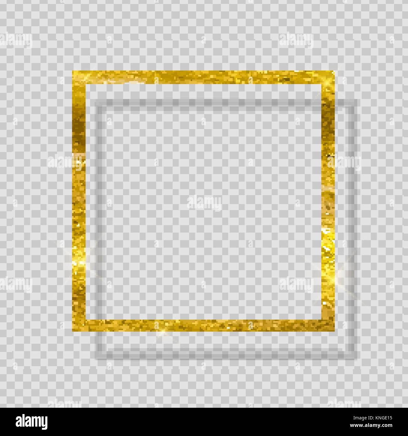 Gold Paint Glittering Textured Frame On Transparent Background Stock