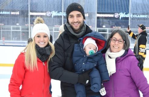 Patrice Bergeron avec sa famille au Gillette Stadium