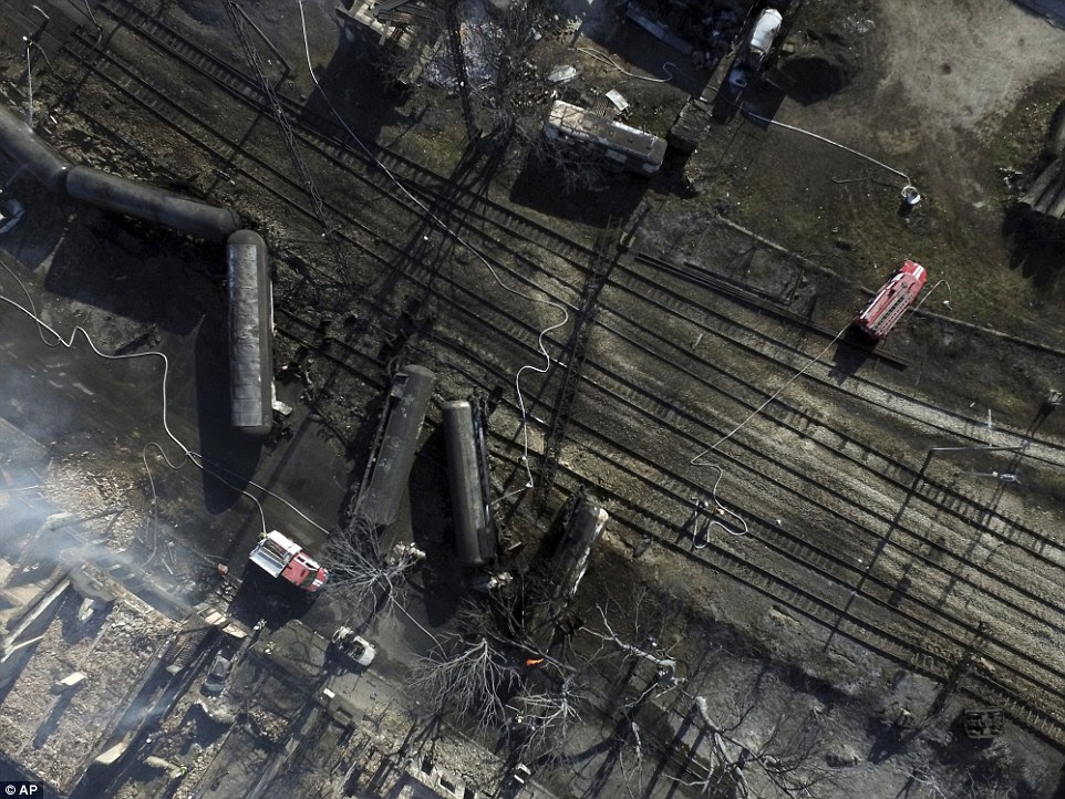 Aerial photos show the devestation after a freight train derailed and exploded in while entering a Bulgarian rail station