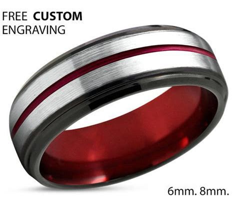 Tungsten Ring Mens Red Black Wedding Band Tungsten Ring