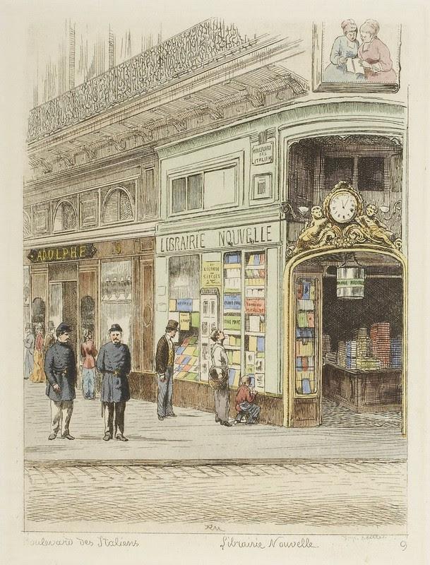 vintage engraving - Paris sidewalk with pedestrians and storefronts