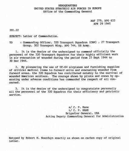Letter of Commendation for Noorduyn Norseman