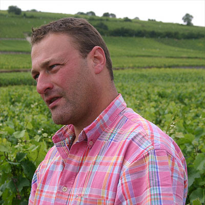 Thiebault Huber from Domaine Huber-Verdereau in his Volnay vineyard