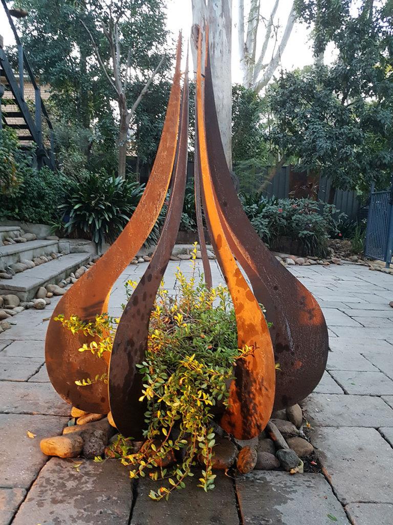 Teardrop Sculpture in Corten Steel - Iron Bark Metal Design