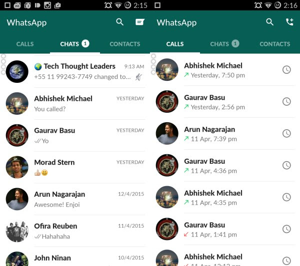 Home WhatsApp for Android gets a much needed Material Design makeover, bringing cleaner layouts and new icons