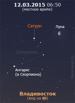 Луна и Сатурн на утреннем небе Владивостока 12 марта 2015 г.