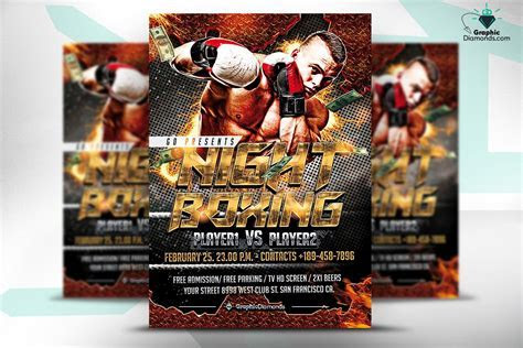 Night Boxing Flyer Template ~ Flyer Templates ~ Creative
