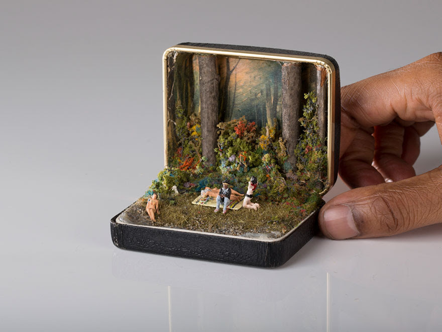 vintage ring box diorama