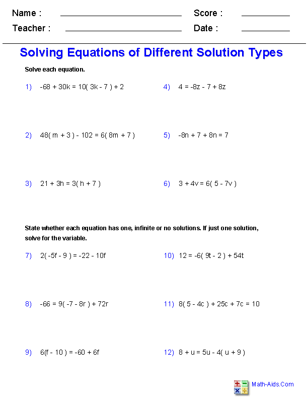 Algebra 1 Worksheets Equations Worksheets