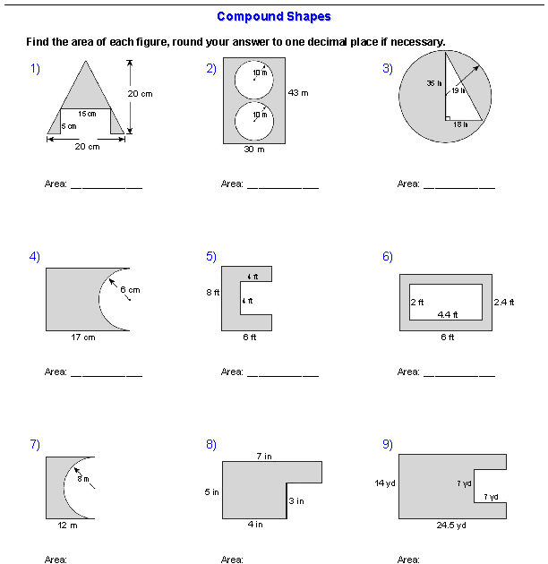 Area Mixed Shapes Worksheet Answers - worksheet