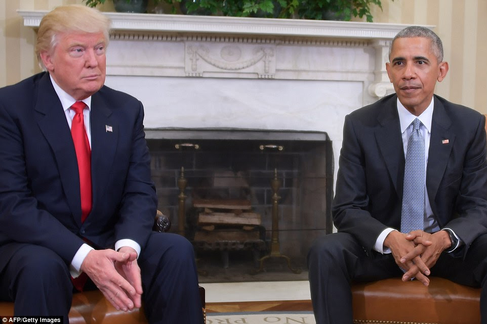 Trump described Obama as a 'very good' man when the meeting was finished as a pack of reporters hurled questions at the pair