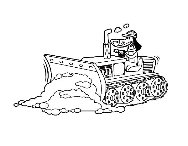 Bulldozer Pulling Dirt in Digger Coloring Page | Color Luna