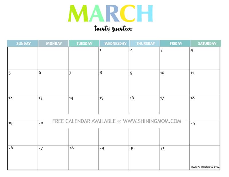 March 2017 Calendar Cute | february calendars