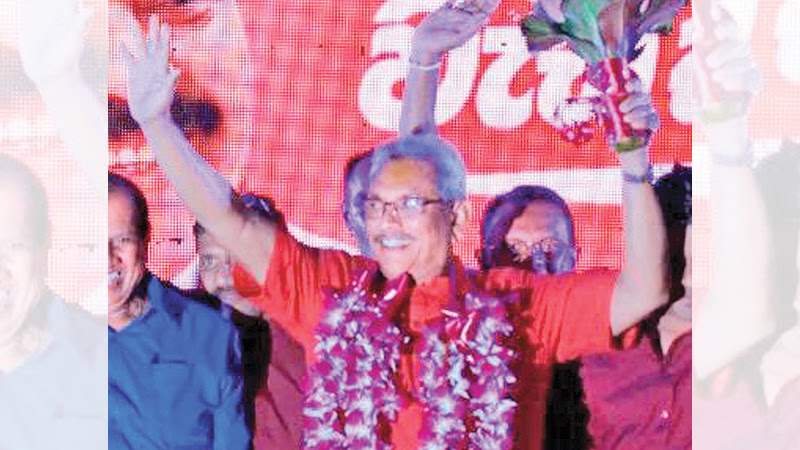 SLPP candidate Gotabaya Rajapaksa at a public rally at Kirindiwela on Saturday.