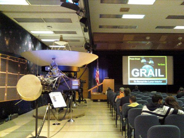 A life-size Voyager spacecraft replica inside the von Kármán Auditorium...where the GRAIL lecture was held.