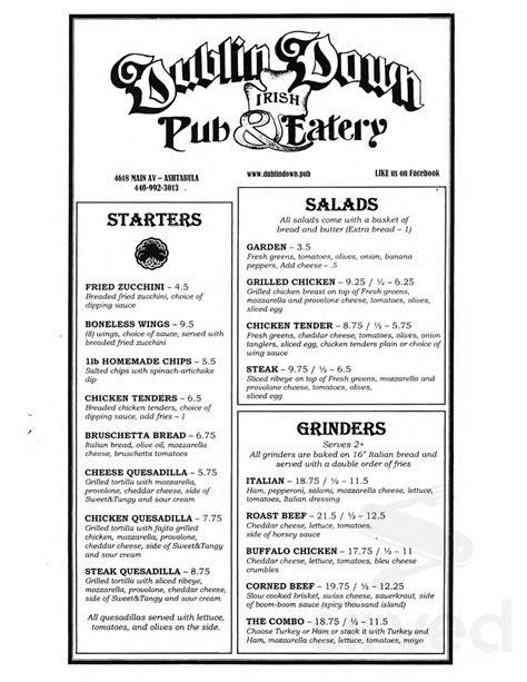 Dublin Down Irish Pub & Eatery menu in Ashtabula, Ohio, USA