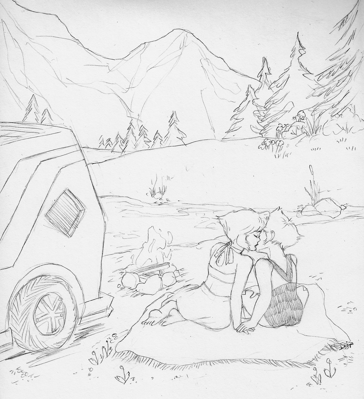💚💙@lapidot-week day 6: roadtrip!! 🗻 it's that ~*~wanderlust aesthetic~*~ y'know (plus i love drawing mountains