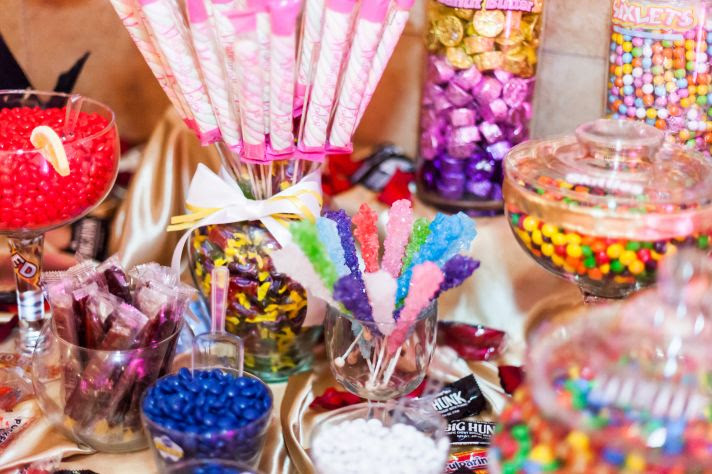 epic wedding in Los Angeles California weddings candy bar cotton candy tree