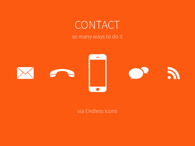 freebie orange icons contact us set